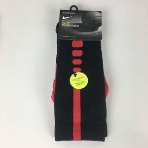 NWT Nike Elite Cushioned Crew Socks Black & Red